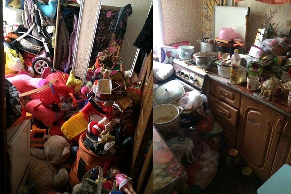 Голодные дети жили в г. Липецке в заваленной мусором квартире