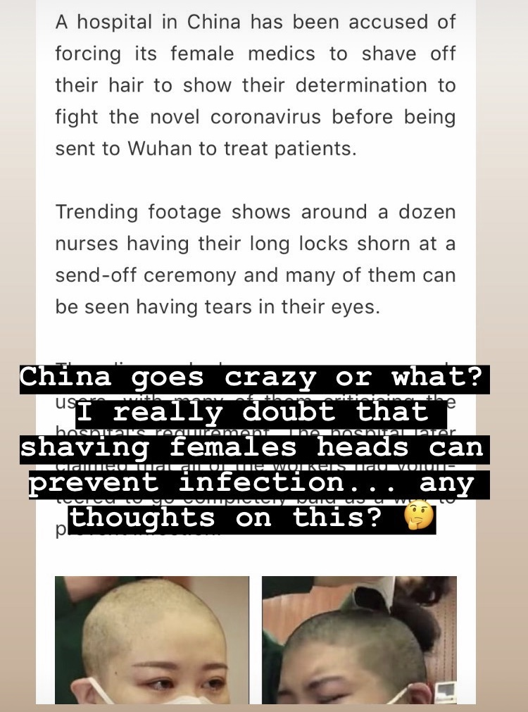 Китайских медсестёр побрили налысо
